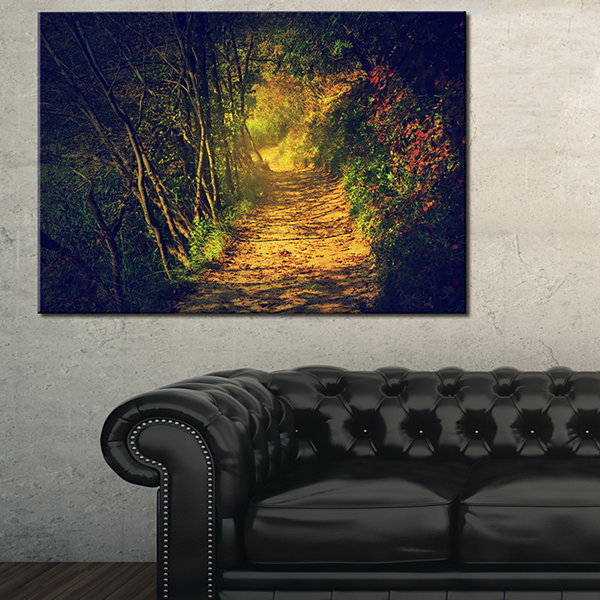 Designart Autumn Forest Path In Sunshine LandscapePhotography Canvas Print