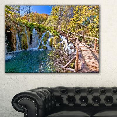 Designart Autumn In Plitvice Lakes Landscape PhotoCanvas Art Print - 3 Panels