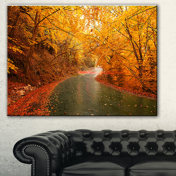 Designart Autumn Light Trails On Road Landscape Photography Canvas Print - 3 Panels