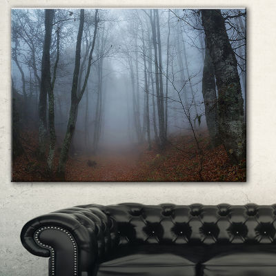 Designart Autumn Rainy Forest In Crimea LandscapePhotography Canvas Print - 3 Panels