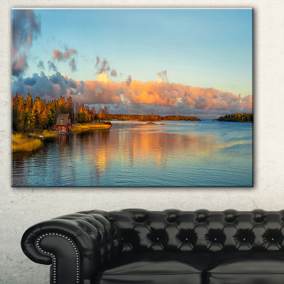 Designart Autumn Sunset Panorama Landscape Photography Canvas Print - 3 Panels