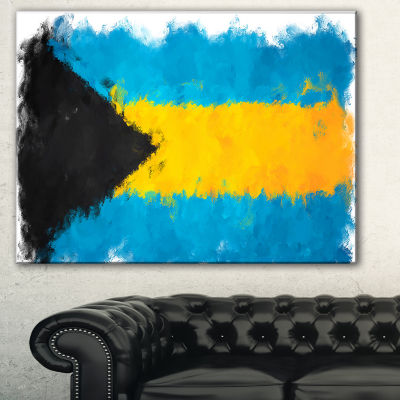 Designart Bahamas Flag Illustration Flag PaintingCanvas Print