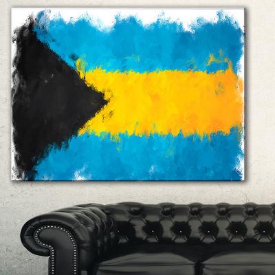 Designart Bahamas Flag Illustration Flag PaintingCanvas Print - 3 Panels