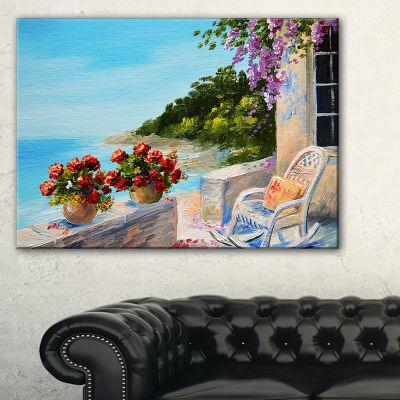 Designart Balcony Near The Sea Landscape PaintingCanvas Print - 3 Panels