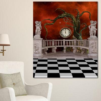 Designart Balcony With Clock And Tree Angels Canvas Art Print
