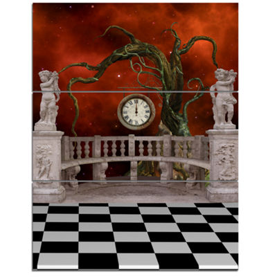Designart Balcony With Clock And Tree Angels Canvas Art Print - 3 Panels