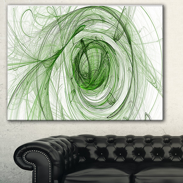 Designart Ball Of Yarn Green Spiral Abstract Canvas Art Print - 3 Panels
