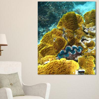 Designart Barrier Reef Underwater Scene SeascapeCanvas Art Print - 3 Panels