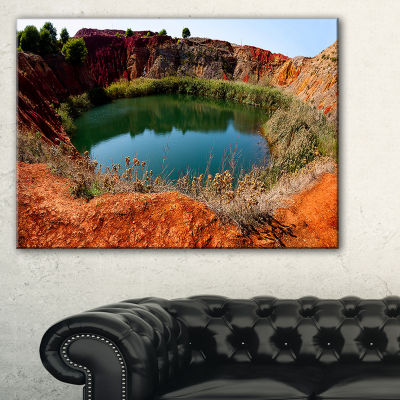 Designart Bauxite Mine With Lake Landscape Photo Canvas Art Print