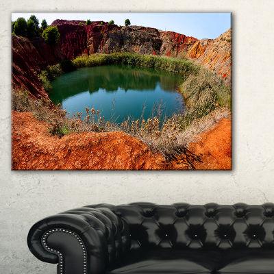 Designart Bauxite Mine With Lake Landscape PhotoCanvas Art Print - 3 Panels