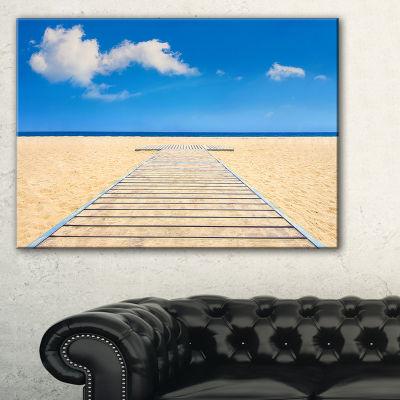 Designart Beach And Sea With Wooden Floor SeashoreCanvas Art Print - 3 Panels