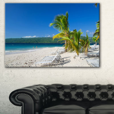 Designart Beach Coconut Palms In Wind Seashore Photo Canvas Print - 3 Panels
