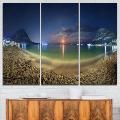 Designart Beach With Lunar Path Seashore Photography Canvas Art Print - 3 Panels