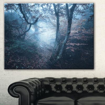 Designart Beautiful Autumn In Forest Landscape Photography Canvas Print - 3 Panels