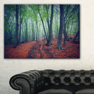 Designart Beautiful Green Autumn Forest LandscapePhotography Canvas Print