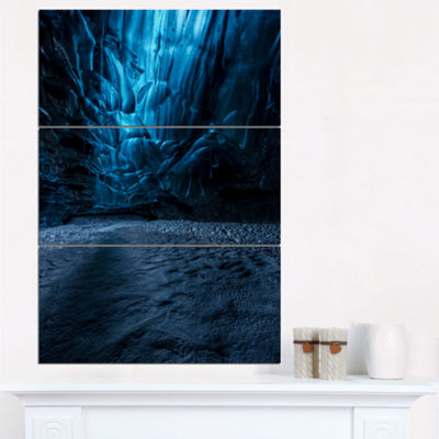 Designart Beautiful Ice Cave In Iceland LandscapePhotography Canvas Print - 3 Panels