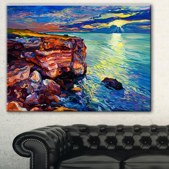 Designart Beautiful Ocean And Cliffs Seascape Canvas Art Print