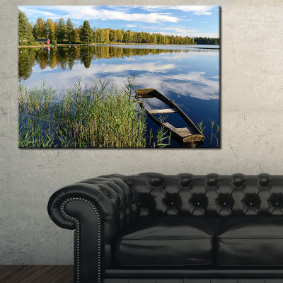 Designart Beautiful Swedish September Lake Landscape Photography Canvas Print