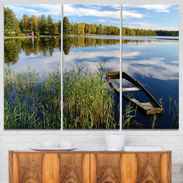 Designart Beautiful Swedish September Lake Landscape Photography Canvas Print - 3 Panels