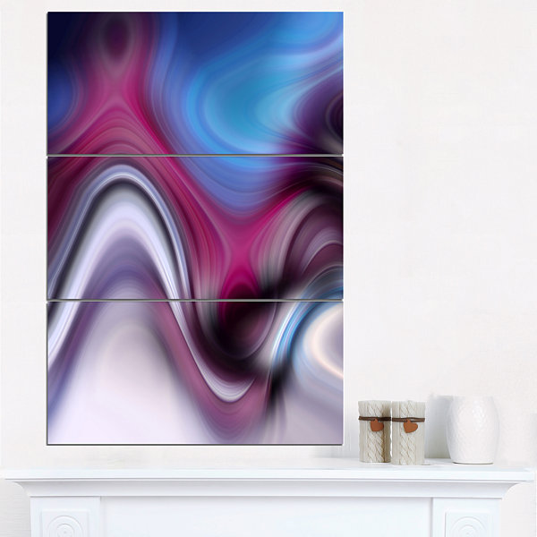 Designart Beautiful Texture Of Blue Purple LargeAbstract Art - 3 Panels