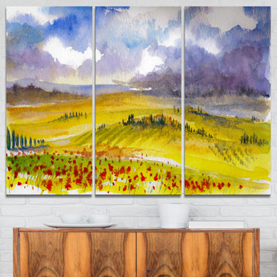 Designart Beautiful Tuscan Hills Italy LandscapePainting Canvas Print - 3 Panels