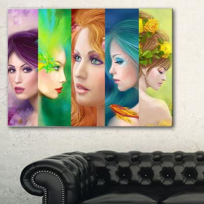 Designart Beautiful Women Face Collage Abstract Portrait Canvas Print