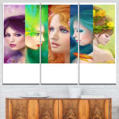 Designart Beautiful Women Face Collage Abstract Portrait Canvas Print - 3 Panels