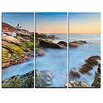 Designart Beavertail Lighthouse During Winter Beach Photo Canvas Print - 3 Panels