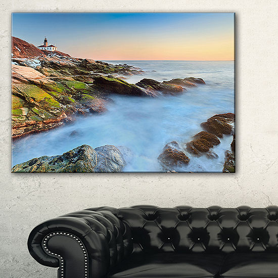 Designart Beavertail Lighthouse During Winter Beach Photo Canvas Print 3 Panels