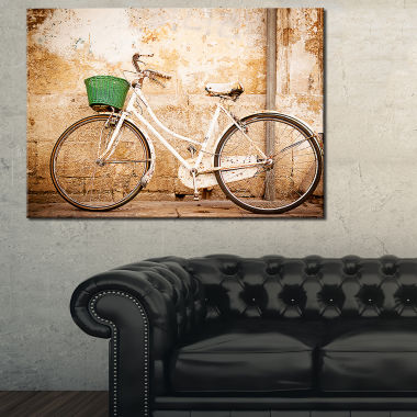 Designart Bicycle Against Wall Vintage Bicycle Photo Canvas Print