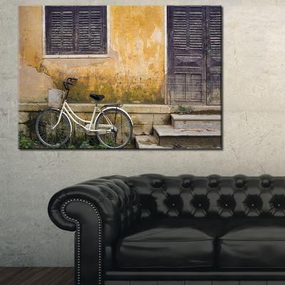 Designart Bicycle And House Vietnam Landscape Photography Canvas Print - 3 Panels