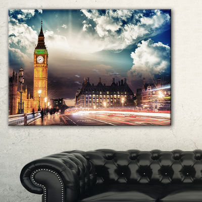 Designart Big Ben Uk From Westminster Bridge Cityscape Photo Canvas Print - 3 Panels