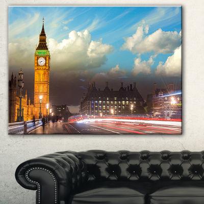 Designart Big Ben Uk From Westminster Bridge LargeCityscape Photo Canvas Print