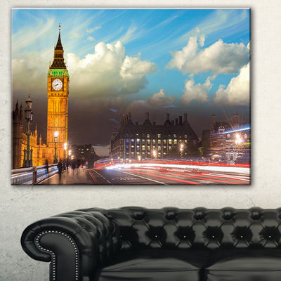 Designart Big Ben Uk From Westminster Bridge LargeCityscape Photo Canvas Print - 3 Panels