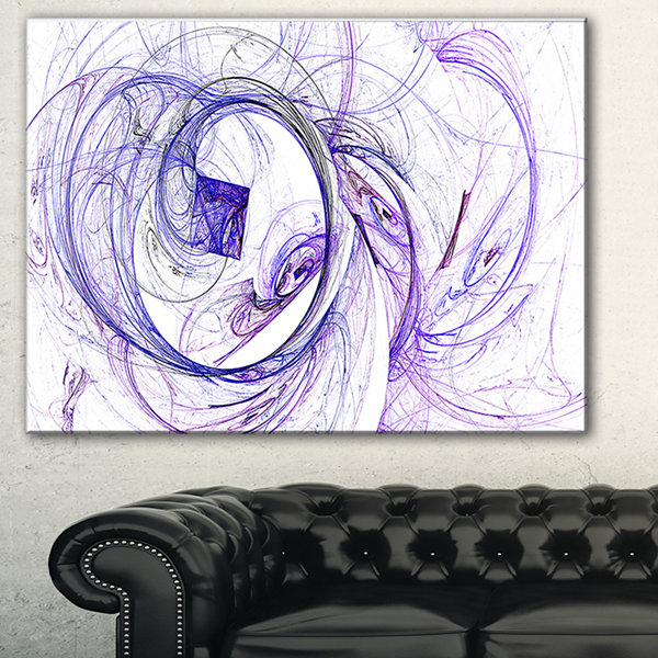 Designart Billowing Smoke Blue Abstract Canvas ArtPrint - 3 Panels