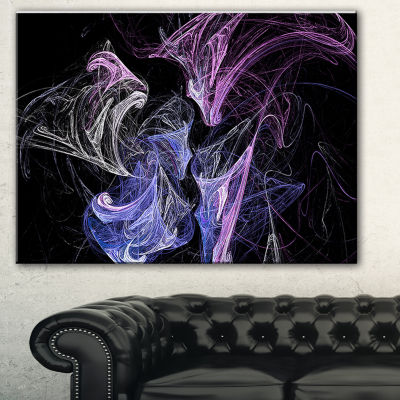 Designart Billowing Smoke Blue Purple Abstract Canvas Art Print - 3 Panels