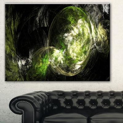 Designart Billowing Smoke Green Abstract Canvas Art Print