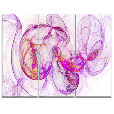 Designart Billowing Smoke Magenta Abstract CanvasArt Print - 3 Panels