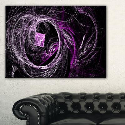 Designart Billowing Smoke Purple In Black AbstractCanvas Art Print - 3 Panels