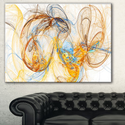 Designart Billowing Smoke Yellow Abstract Canvas Art Print - 3 Panels