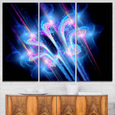 Designart Blue Fractal Flower In Space Floral ArtCanvas Print - 3 Panels
