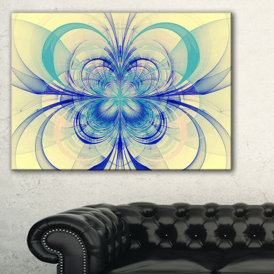 Designart Blue Fractal Flower Pattern Floral ArtCanvas Print