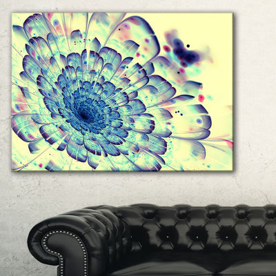 Designart Blue Fractal Flower With Red Details Abstract Print On Canvas