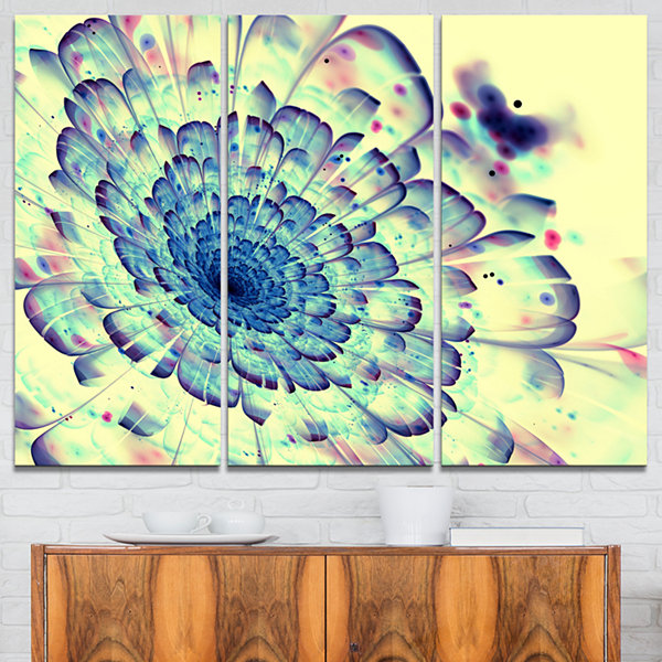 Design Art Blue Fractal Flower With Red Details Abstract Print On Canvas - 3 Panels