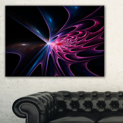 Designart Blue Fractal Light Art In Dark AbstractCanvas Art Print