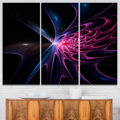Designart Blue Fractal Light Art In Dark AbstractCanvas Art Print - 3 Panels