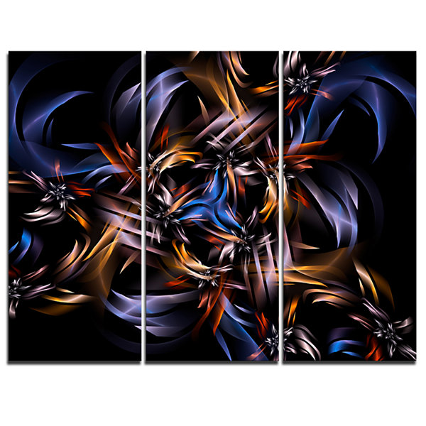 Design Art Blue Fractal Light Art In Dark Contemporary Canvas Art Print - 3 Panels