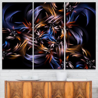 Designart Blue Fractal Light Art In Dark Contemporary Canvas Art Print - 3 Panels