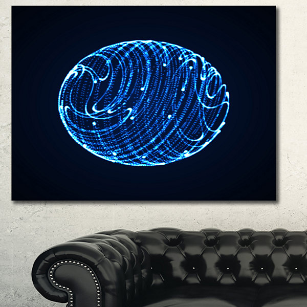 Designart Blue Glowing Particles Abstract CanvasArt Print