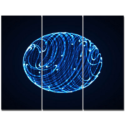 Designart Blue Glowing Particles Abstract CanvasArt Print - 3 Panels